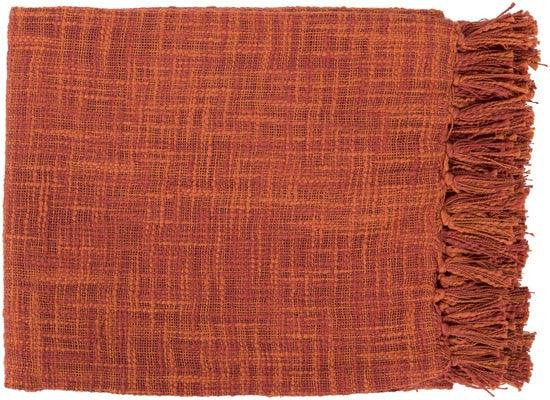 Surya Tori 49 by 59 inches Woven Cotton Throw, Rust, Cherry