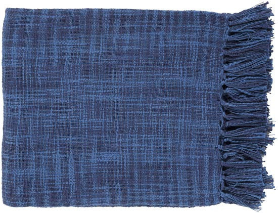 Surya Tori 49 by 59 inches Woven Cotton Throw, Cobalt, Navy