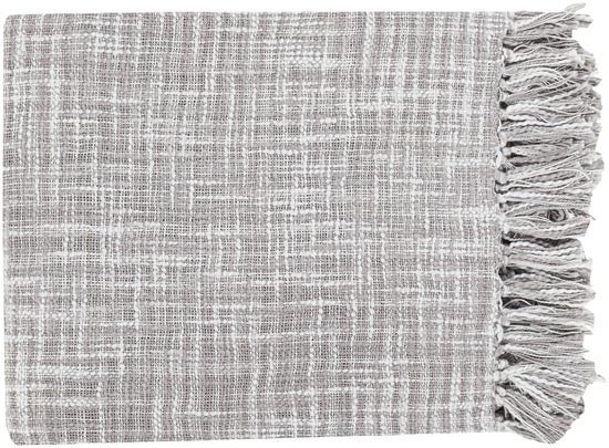 Surya Tori 49 by 59 inches Woven Cotton Throw, Gray, Sky Blue