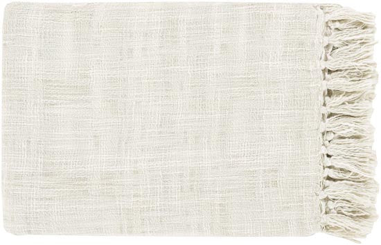 Surya Tori 49 by 59 inches Woven Cotton Throw, Sea Foam, Ivory
