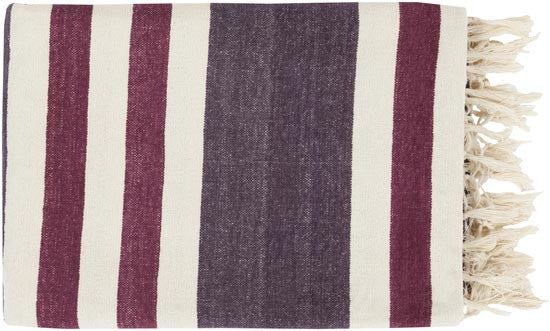 Surya Troy 50 by 70 inches Woven Cotton Throw, Eggplant, Ivory, Magenta