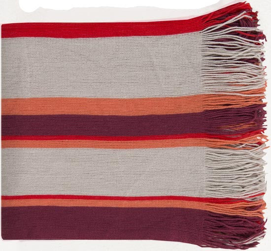 Surya Topanga 50 by 60 inches Woven Acrylic Throw, Eggplant, Ivory, Poppy, Coral, Charcoal