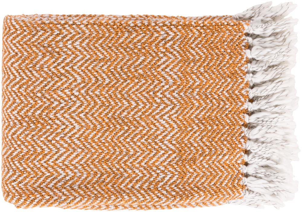 Surya Trina 50 by 60 inches Woven Acrylic, Polyester Throw, Burnt Orange,Ivory,Charcoal