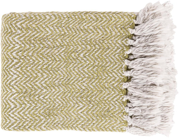 Surya Trina 50 by 60 inches Woven Acrylic, Polyester Throw, Lime,Ivory,Charcoal