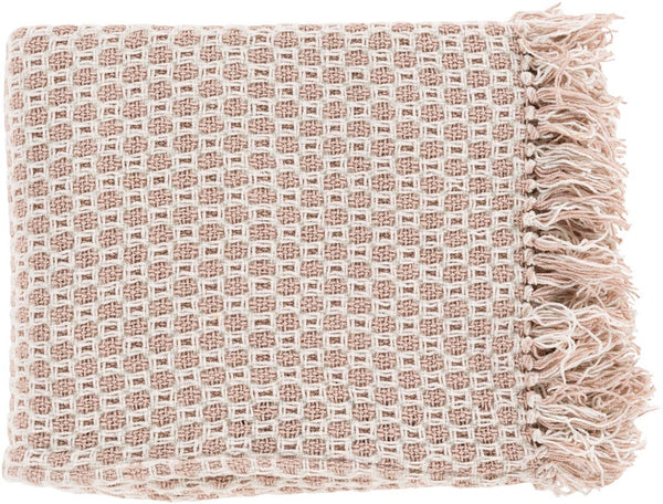 Surya Trestle 50 by 60 inches Woven Cotton Throw, Mauve, Beige