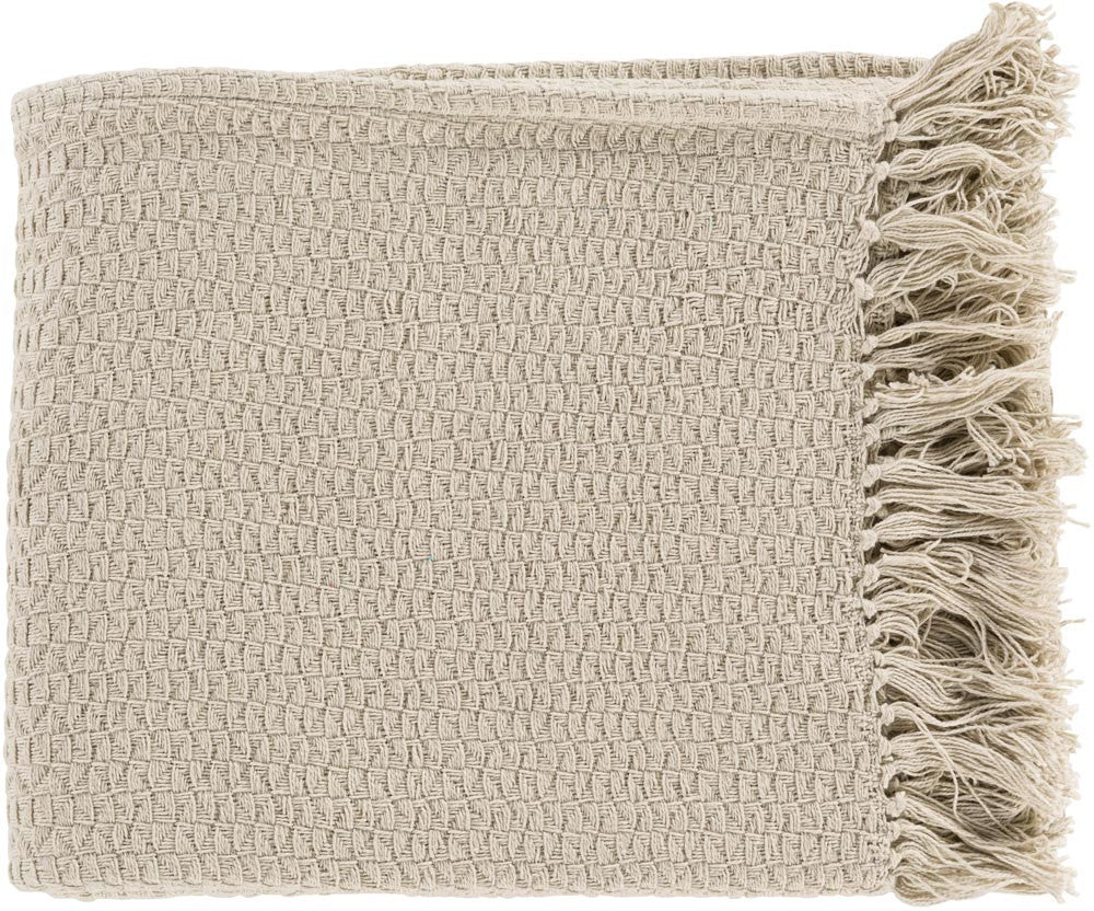 Surya Tressa 50 by 60 inches Woven Cotton Throw, Beige