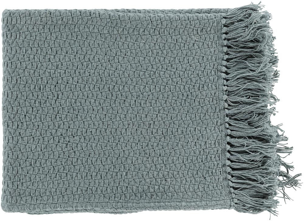 Surya Tressa 50 by 60 inches Woven Cotton Throw, Moss