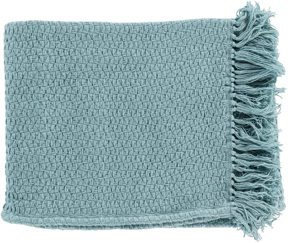 Surya Tressa 50 by 60 inches Woven Cotton Throw, Mint