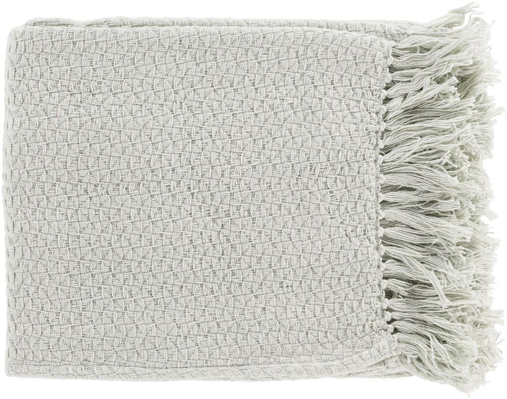Surya Tressa 50 by 60 inches Woven Cotton Throw, Sea Foam