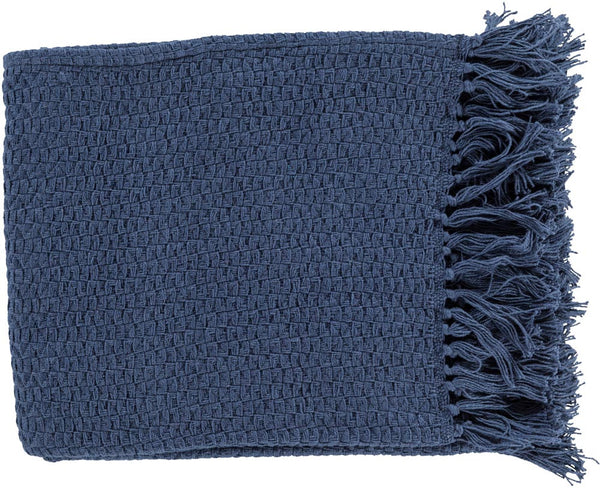 Surya Tressa 50 by 60 Inches Woven Cotton Throw, Navy