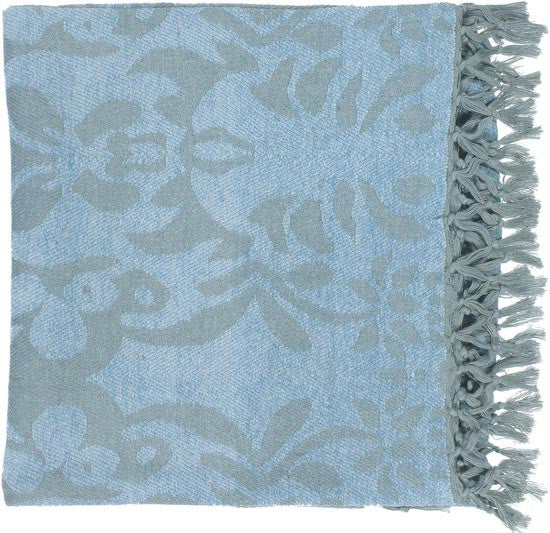 Surya Tristen 50 by 70 inches Woven Viscose Throw, Light Gray, Sky Blue