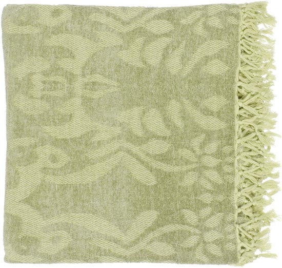 Surya Tristen 50 by 70 inches Woven Viscose Throw, Lime, Gold