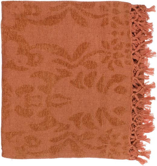 Surya Tristen 50 by 70 inches Woven Viscose Throw, Burnt Orange, Coral