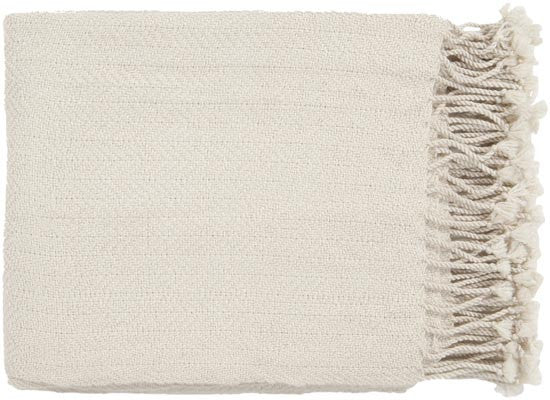 Surya Turner 50 by 60 inches Woven Acrylic Throw, Ivory