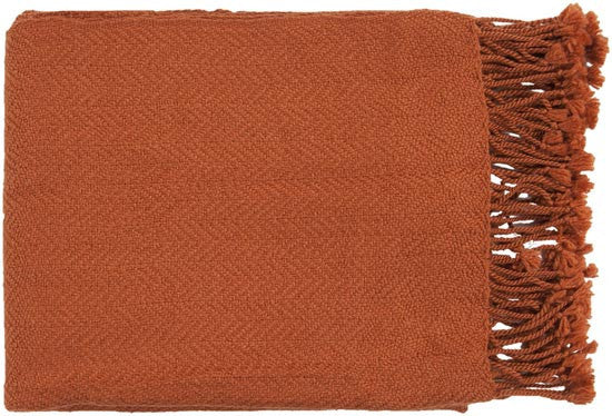 Surya Turner 50 by 60 inches Woven Acrylic Throw, Rust
