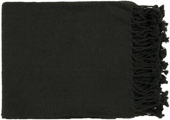Surya Turner 50 by 60 inches Woven Acrylic Throw, Black