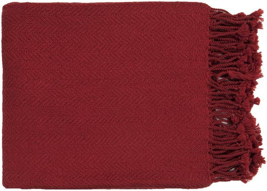 Surya Turner 50 by 60 inches Woven Acrylic Throw, Cherry