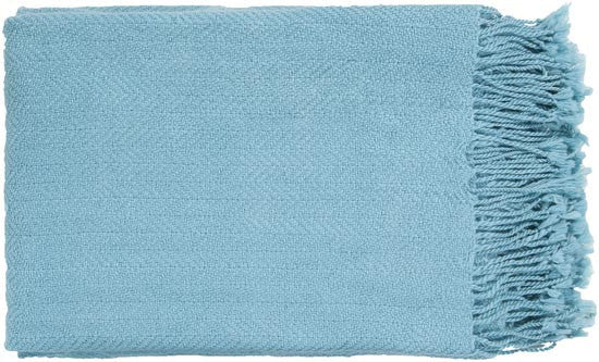 Surya Turner 50 by 60 inches Woven Acrylic Throw, Sky Blue