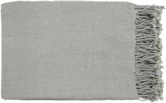 Surya Turner 50 by 60 inches Woven Acrylic Throw, Light Gray