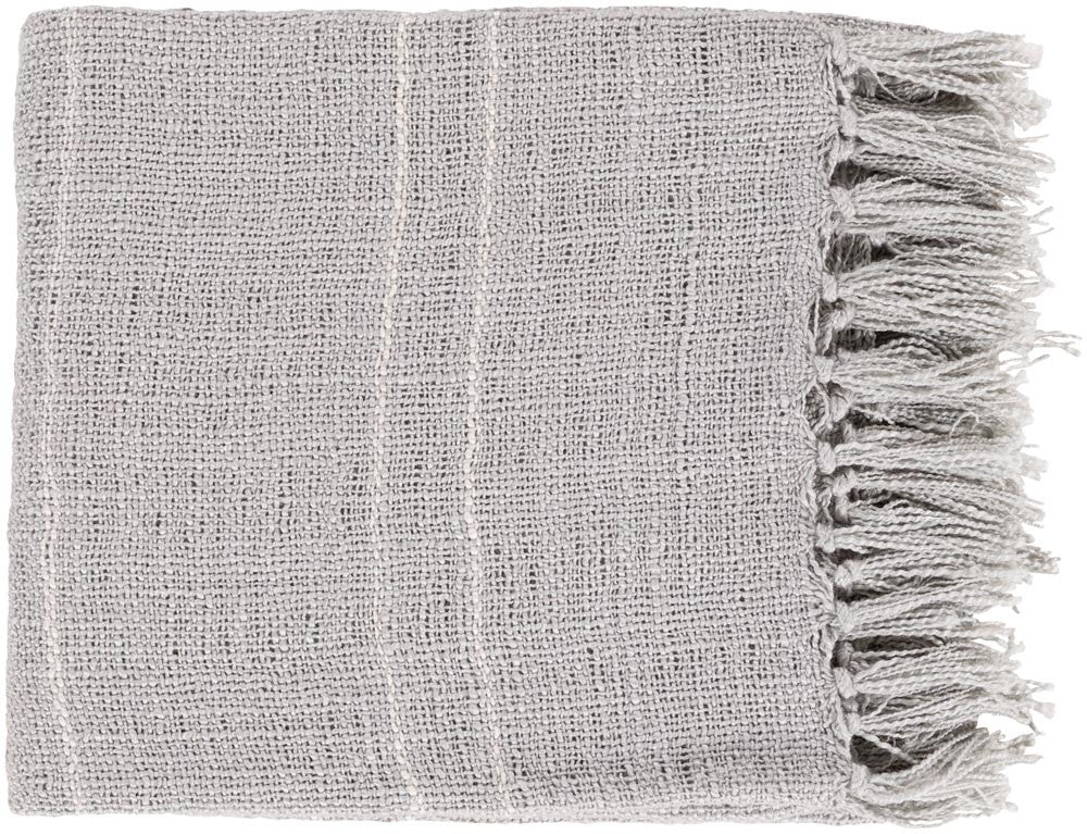 Surya Traveler 50 by 60 inches Woven Acrylic Throw, Slate,Ivory