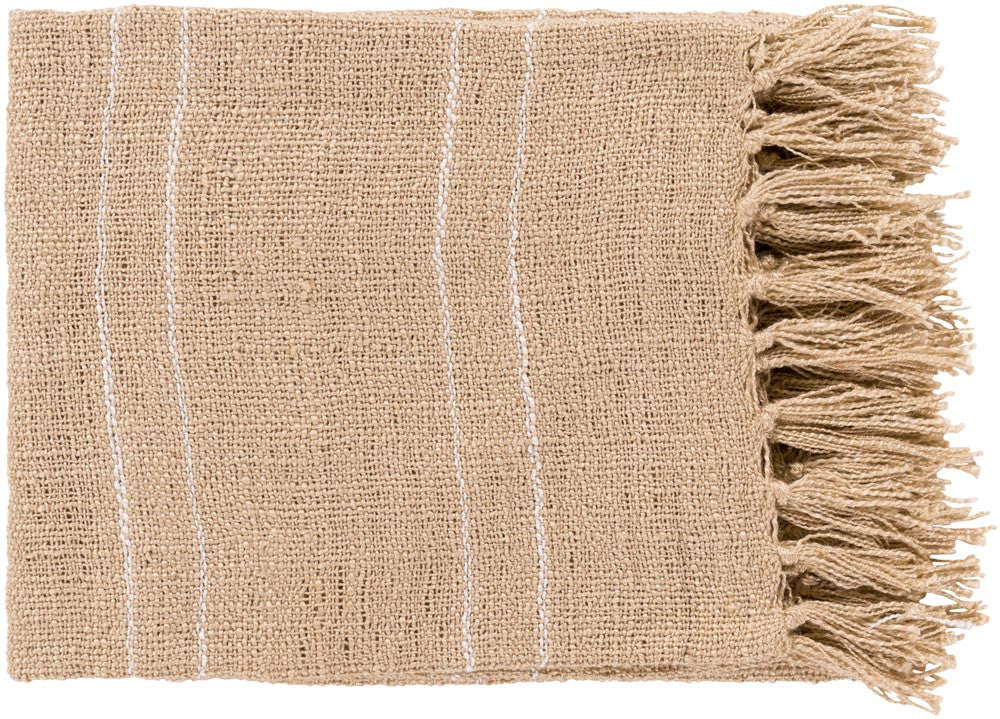 Surya Traveler 50 by 60 inches Woven Acrylic Throw, Light Gray,Ivory