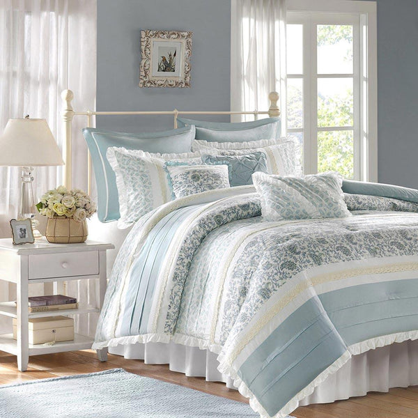 Dawn Cotton Printed Pieced 9 Pieces Comforter Set  - Bedding | Madison Park