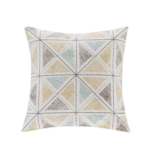 JLA Ink+Ivy Zahira Cotton Embroidered Square Pillow, Multi
