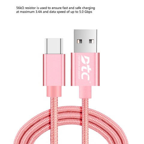 DTC USB Type C to USB 3.0 3Ft Nylon Braided Cord Fast Charging with Reversible Connector Cable