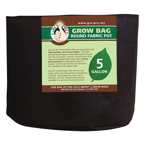 Gro Pro Premium Round Fabric Pot 15 Gallon - Black