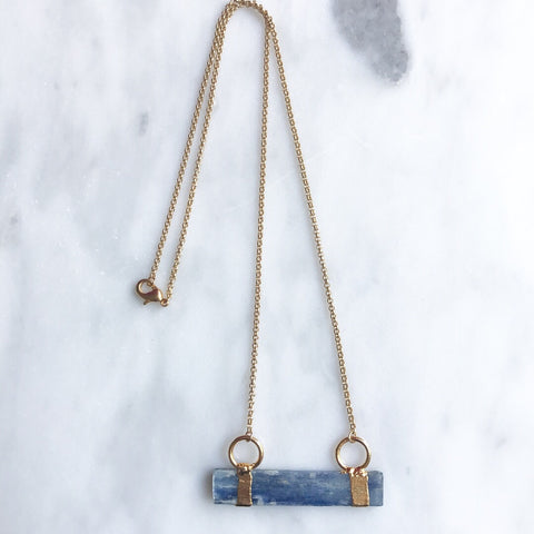 blue kyanite and matte gold necklace