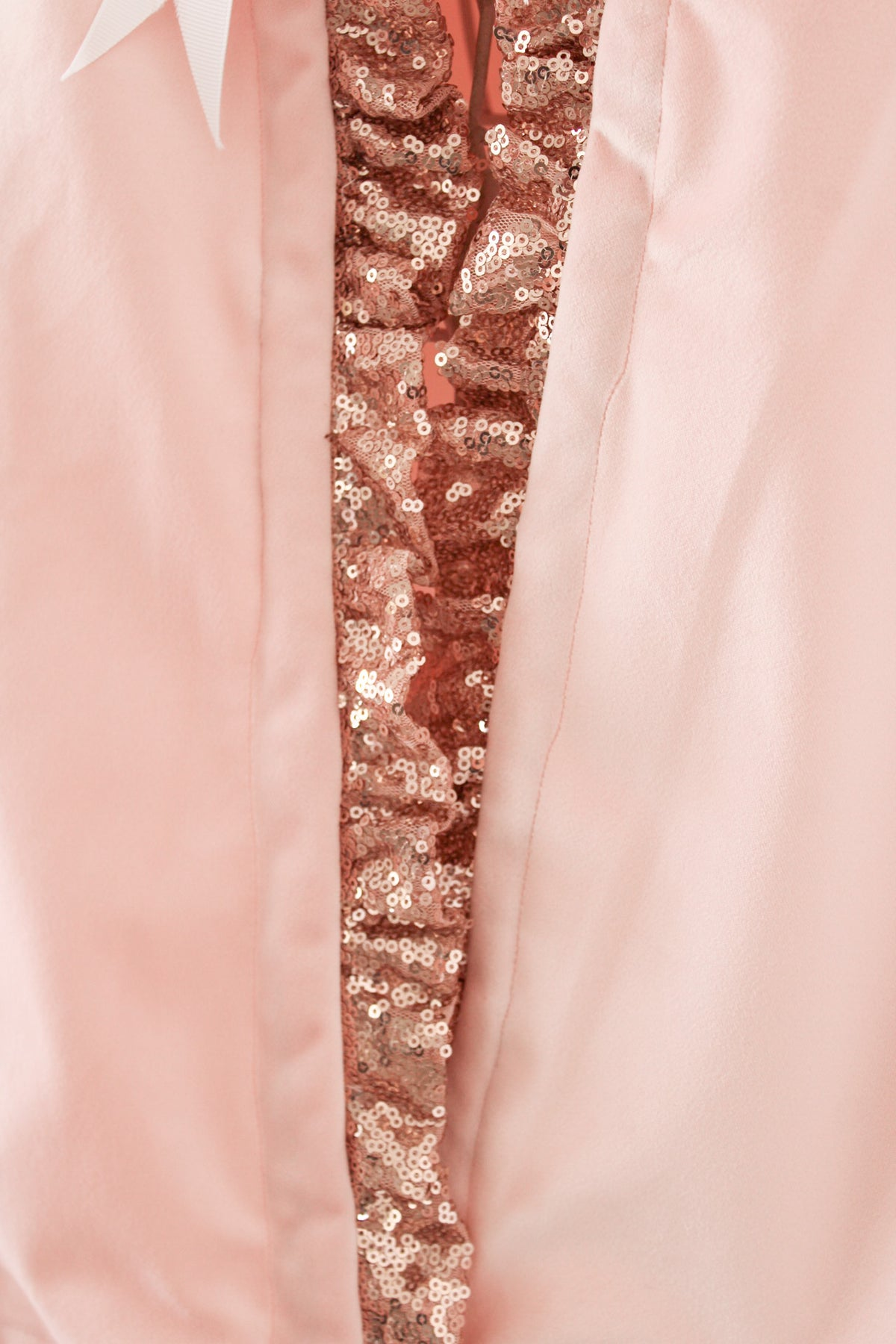 *Sample Sale* Peach Velvet Cape with Sequin Ruffle