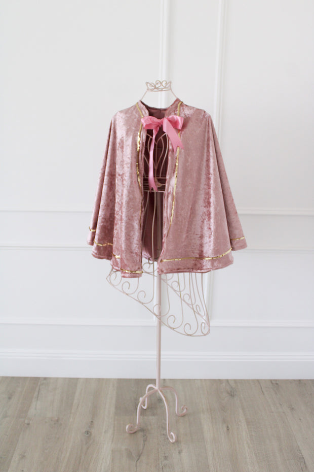 *Sample Sale* Dusty Pink Crushed Velvet Cape