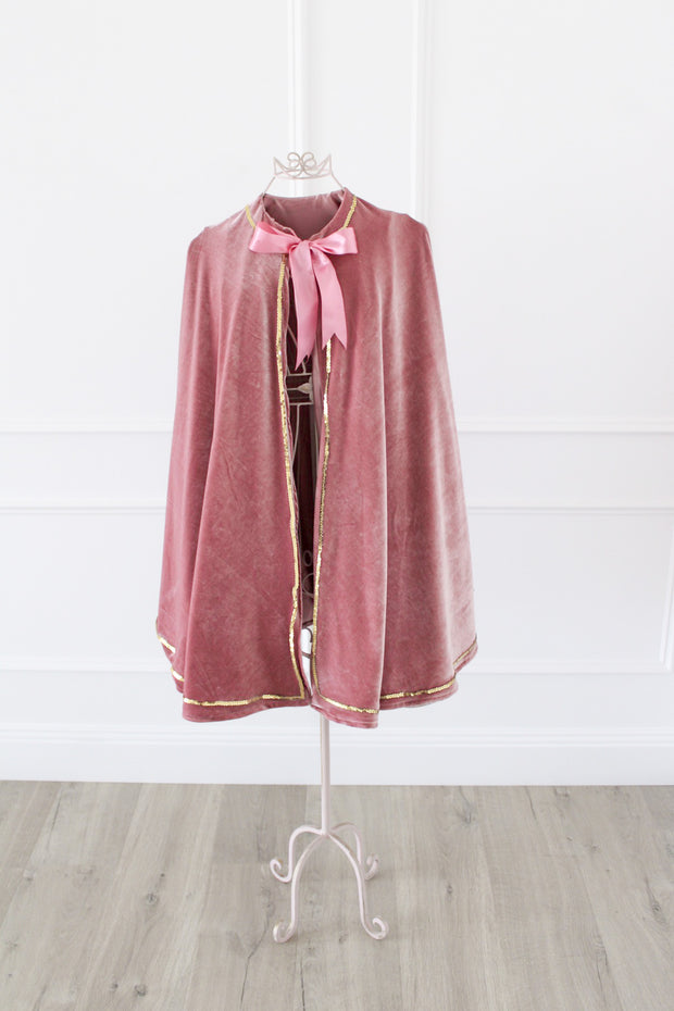*Sample Sale* Dusty Pink Velvet Cape With Gold Trim