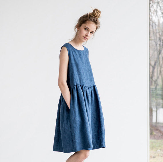 Gingerly Witty Got the Blues Collection chambray linen dress Not Perfect Linen