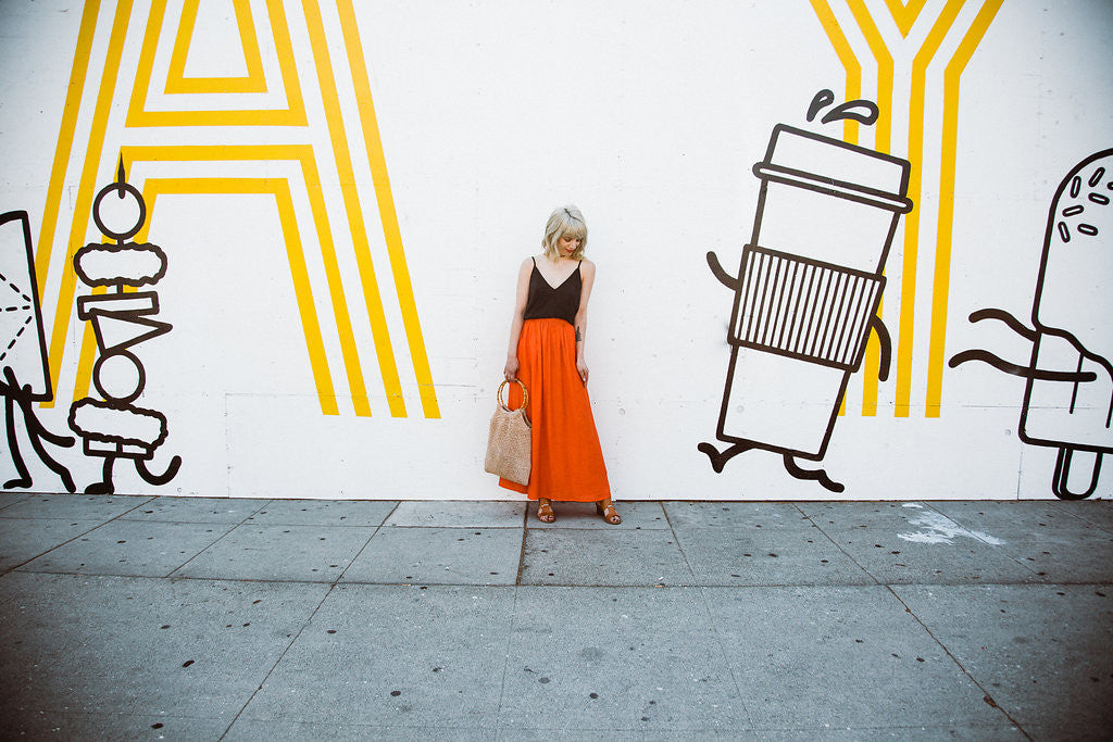 Gingerly Witty Red Maxi Skirt LACAUSA LA Instagram wall