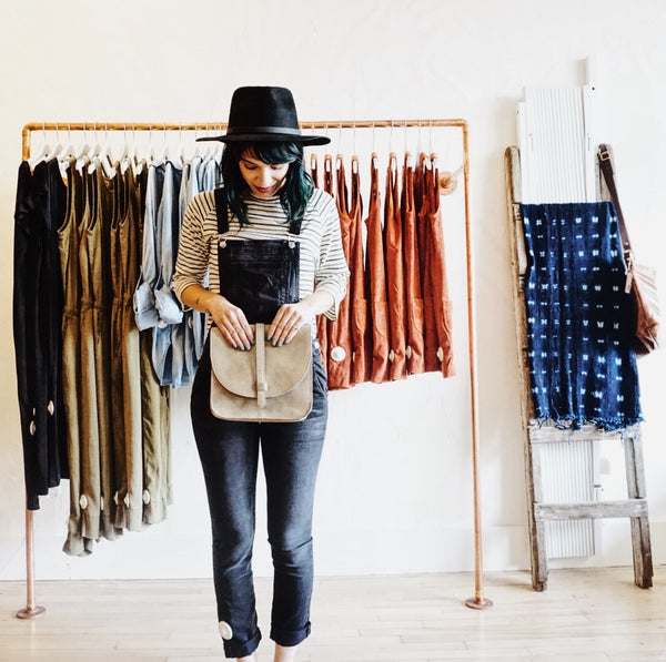 JungMaven Striped 3/4 tee + Black Orchid Denim overalls3