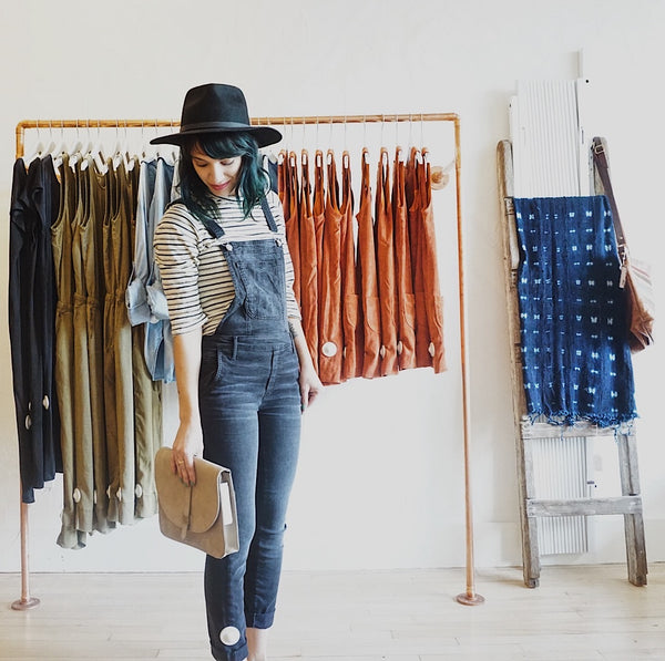 JungMaven Striped 3/4 tee + Black Orchid Denim overalls2