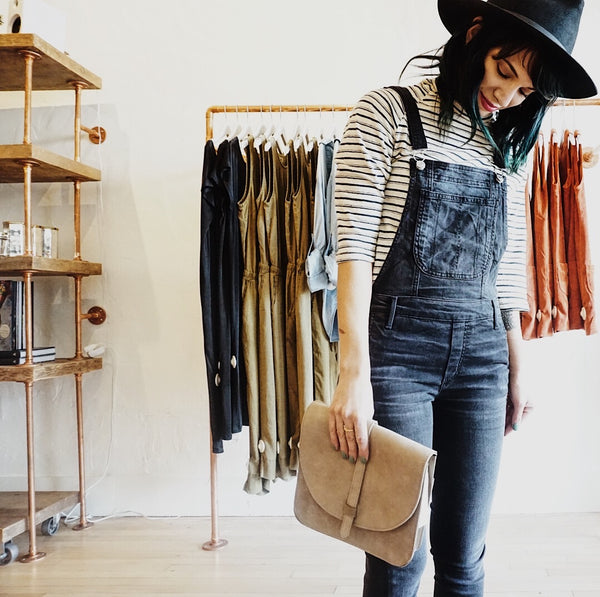 JungMaven Striped 3/4 tee + Black Orchid Denim overalls