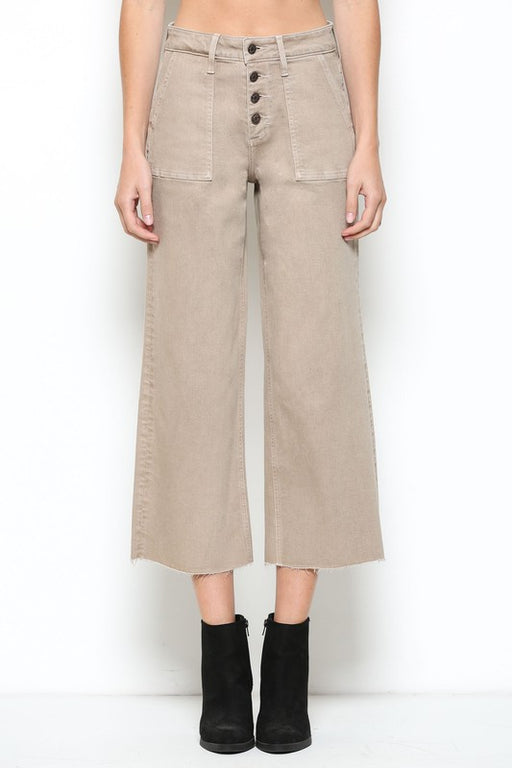 Utility Cropped Wide Leg Jean - Khaki; Hidden Jeans; Gingerly Witty