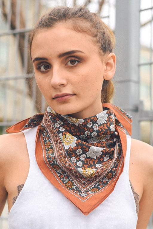 Floral Garden Handkerchief Bandana - Camel, LETO Accessories & Intimates - Gingerly Witty