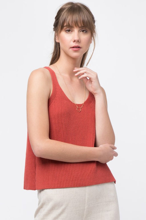 100% cotton ribbed sweater knit tank in brick burnt orange-red color. ; Very J; Gingerly Witty