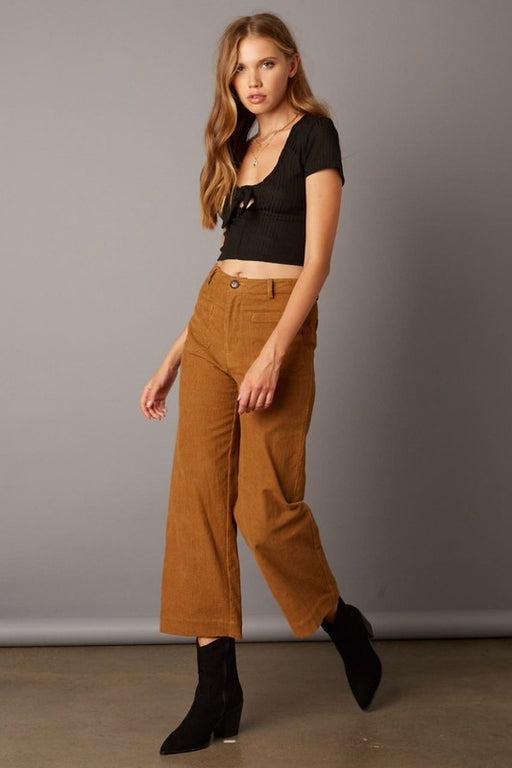 *PRE-ORDER* Mom Cord Crop Pant - Camel, Quarter to Five - Gingerly Witty