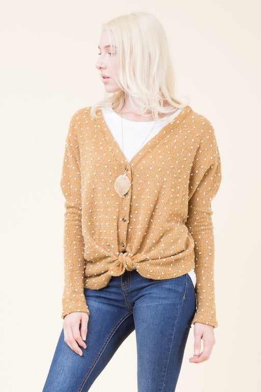 Dot the I's Cardigan - Honey Mustard, Cezanne - Gingerly Witty