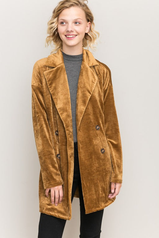 "Velour corduroy oversized jacket coat with pockets and buttons. Model is 5'9"" and wearing a size S.; Hem & Thread; Gingerly Witty"