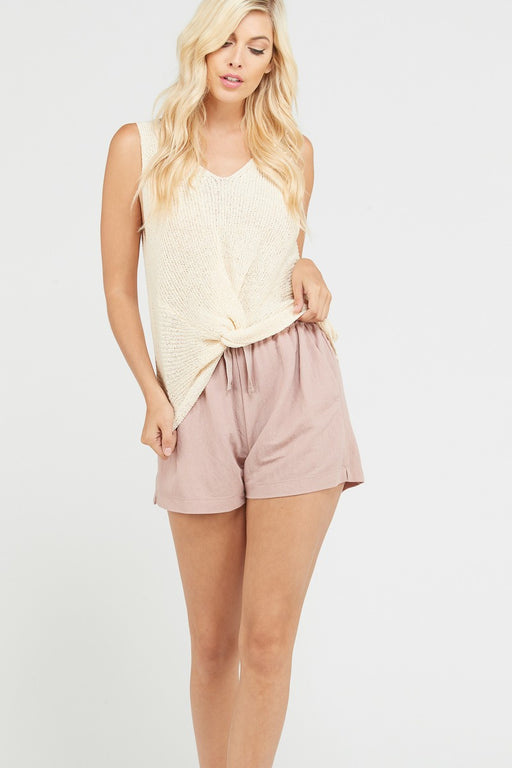 Twist and Shout Sweater Tank - Natural; Textured twisted front fine sweater tank top. Features a ribbed knit, twisted front hem detail, relaxed fit and V neckline. Pair with practically anything!; Wishlist; Gingerly Witty