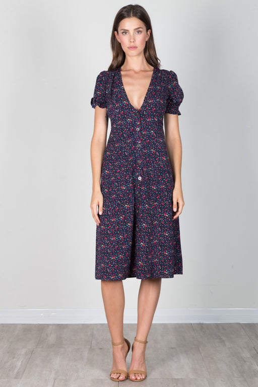 Hello Dolly Floral Midi Dress - Navy; essue; gingerly witty