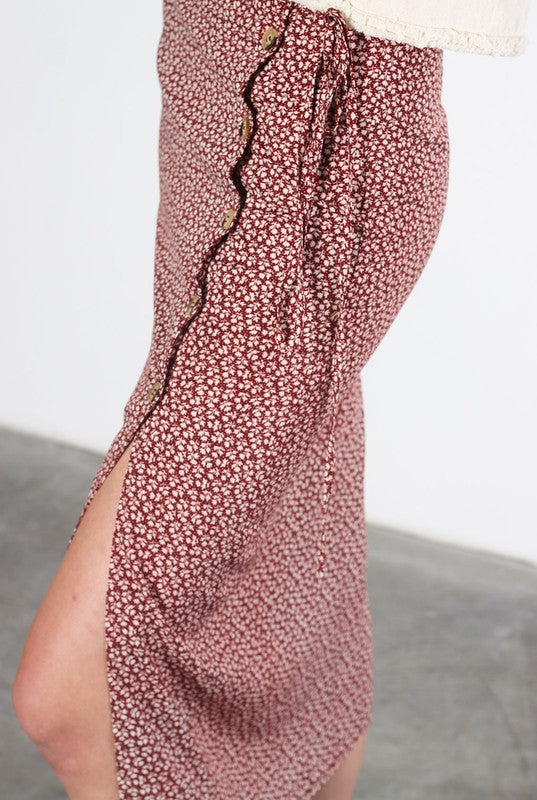 *PRE-ORDER* Anna Patterned Midi Skirt - Maroon, Mod Ref - Gingerly Witty