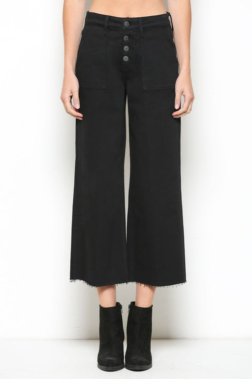 Utility Cropped Wide Leg Jean - Black; Hidden Jeans; Gingerly Witty