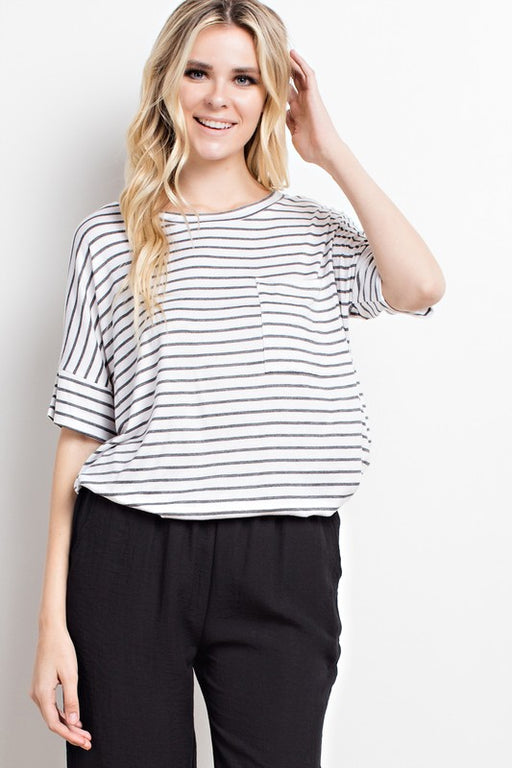 Stripe Front Pocketed Loose Knit Top - Ivory/Charcoal; Mittoshop; Gingerly Witty