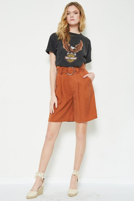 Belted high-waisted Paper Bag Shorts - Copper; étophe studios; Gingerly Witty